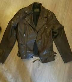 All Saints Yuku Leather Jacket Oxblood (Medium)