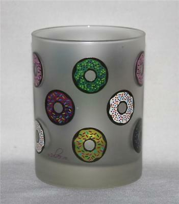4 Culver Frosted Shiny Sprinkle DOUGHNUTS DOF LowBall Glass Tumblers NEW HTF
