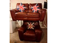 Lovely compact DFS brown leather 2 seater sofa and matching chair ultimate comfort