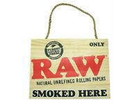 RAW Genuine Wooden Hanging Sign RAW Rolling Papers Smoked Here (Brand New)
