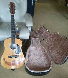 Palmer model 12-sting acoustic guitar with flight case. Good tone and in good condition. £100.00