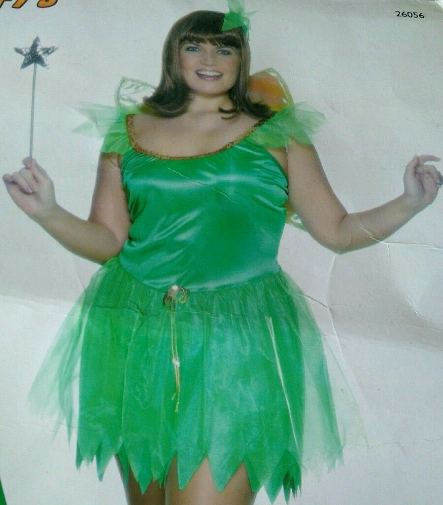 GREEN WOODLAND FAIRY / TINKERBELL FANCY DRESS OUTFIT SIZE 16/18 ...