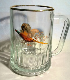 Bird Pheasant Tudor Dema Glass Pint Tankard