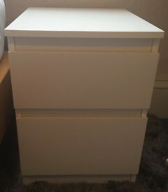 BED SIDE TABLE - ONE WHITE IKEA WITH 2 DRAWERS