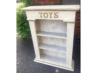 Cream and gold 'Toys' detail wood bookcase storage shelving unit