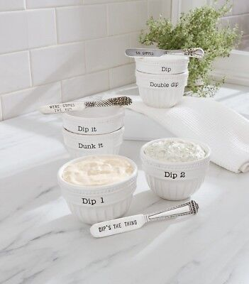 Mud Pie E0 Circa Dining Stacked Dip Cup & Spreader Set 4851098 Choose ()