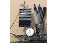 Ship Pen holder with Clock