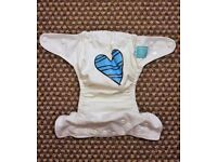 Charlie Banana One Size Cloth Nappy with 2 inserts | Blue Petit Coeur on White | £23 | GREAT COND