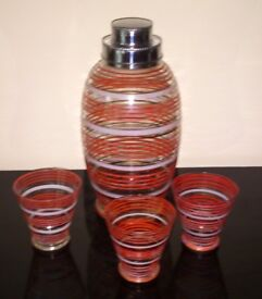 Vintage Glass Cocktail Shaker and Three Glasses, c1930-1940