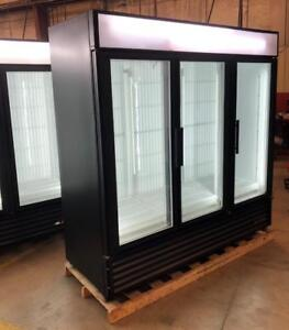 Three (3) Glass Door Freezers and Coolers True GDM 72F and True GDM 72