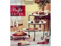 Cake buns sandwich server 4 tiers ceramic plates metal stands fabulous at Xmas time new boxed