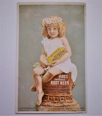 Antique 1883 Victorian Trade Card Hires Improved Root Beer Temperence Drink
