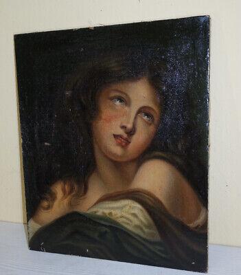 """antico dipinto olio su tela """" Maddalena"""" fine '700 francese"""