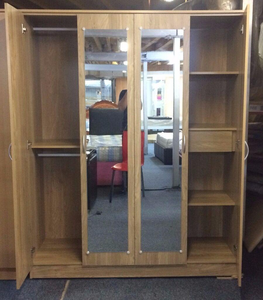 Lockable Bedroom Furniture 100 Guaranteed Pricebrand New 4 Door Mirrored Wardrobe With