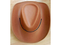 Brown Cowboy Hat with chin strap Mens Womens Fancy Dress Worn Once