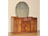 Attractive Large Vintage Art Deco Walnut Dressing Table With Cupboards
