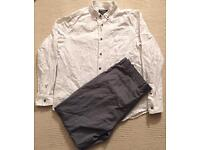 Men's Burton large fitted white linen shirt, with grey w36 trousers. Both worn once
