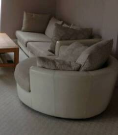 Zest 3 Seater Sofa and Swivel/Cuddle Chair - cream