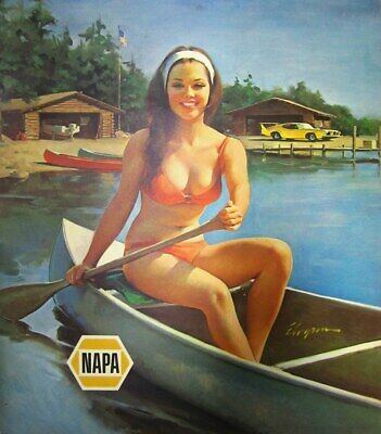Muscle Car Signs - Vintage Napa ad pin up girl canoe lake muscle car metal sign man cave decor