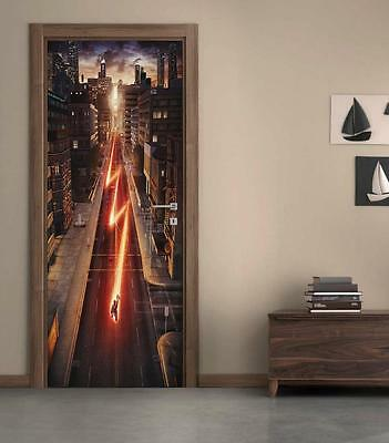The Flash DOOR WRAP Decal Sticker Wall Mural Personalized ANY NAME Marvel D67