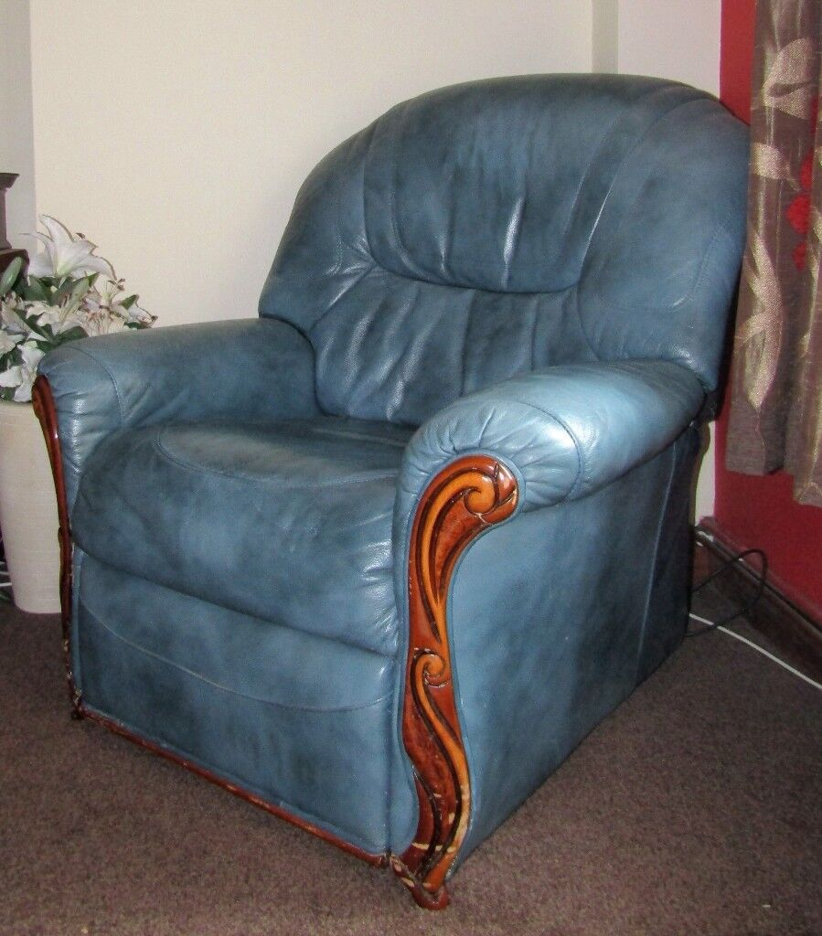Blue Leather Electric Recliner Lazy Boy Chair In Bradwell Norfolk Gumtree