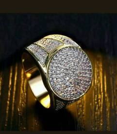 18k gold filled band crystal ring