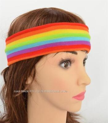 Disco 80s Party Dance Costume Mardi Gra Parade Hair Head Band Headband Rainbow