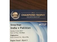 India VS Pakistan (Front Row Tickets)- ICC Champions Trophy 2017 - Row A Tickets