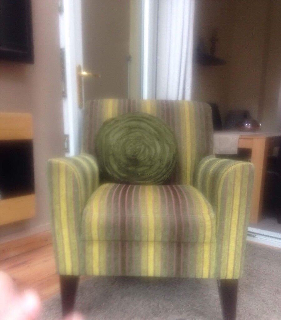 Next green striped arm chair