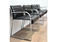 Vintage Quality Willy Rizzo Dining Chairs Italian Leather Chrome Rare Mid Century