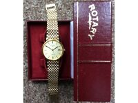Vintage Rotary Gents Watch - Gold Style - With Original Box - Excellent Condition
