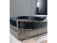 Handmade 100% Full Grain Veg Tan Leather Celtic, Maple Leaf Design Embossed Leather Belts