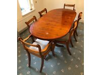 6 seat oval extending yew dining table + chairs