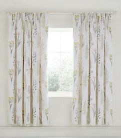 Sanderson Floral Bazaar Fig Lined Curtains with Tie Backs