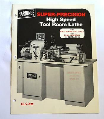 Hardinge Hlv-em High Speed Tool Room Lathe Brochure
