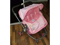 Dolls baby born twin double pink pram pushchair