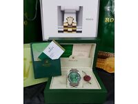 Silver Rolex Daydate. Green Face. Comes Rolex Bagged, Boxed with Paperwork.