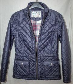 m&s indigo checkered coat in navy blue