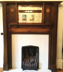 ART NOUVEAU WOODEN FIREPLACE SURROUND WITH LOVELY TULIP INLAY