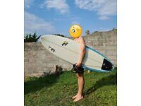 "Tiki - 6'6"" Surfboard +Bag +Leash +Fins"