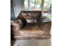 Large sofa and two armchairs brown leather