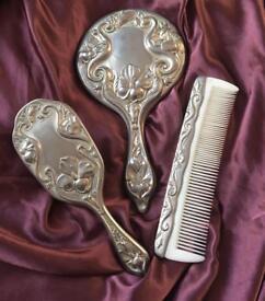 Art Nouveaux Primrose Mirror Brush Comb Vanity Set Silver Repousse Vintage