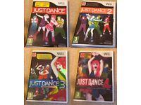 Nintendo Wii Games Just dance 1-4