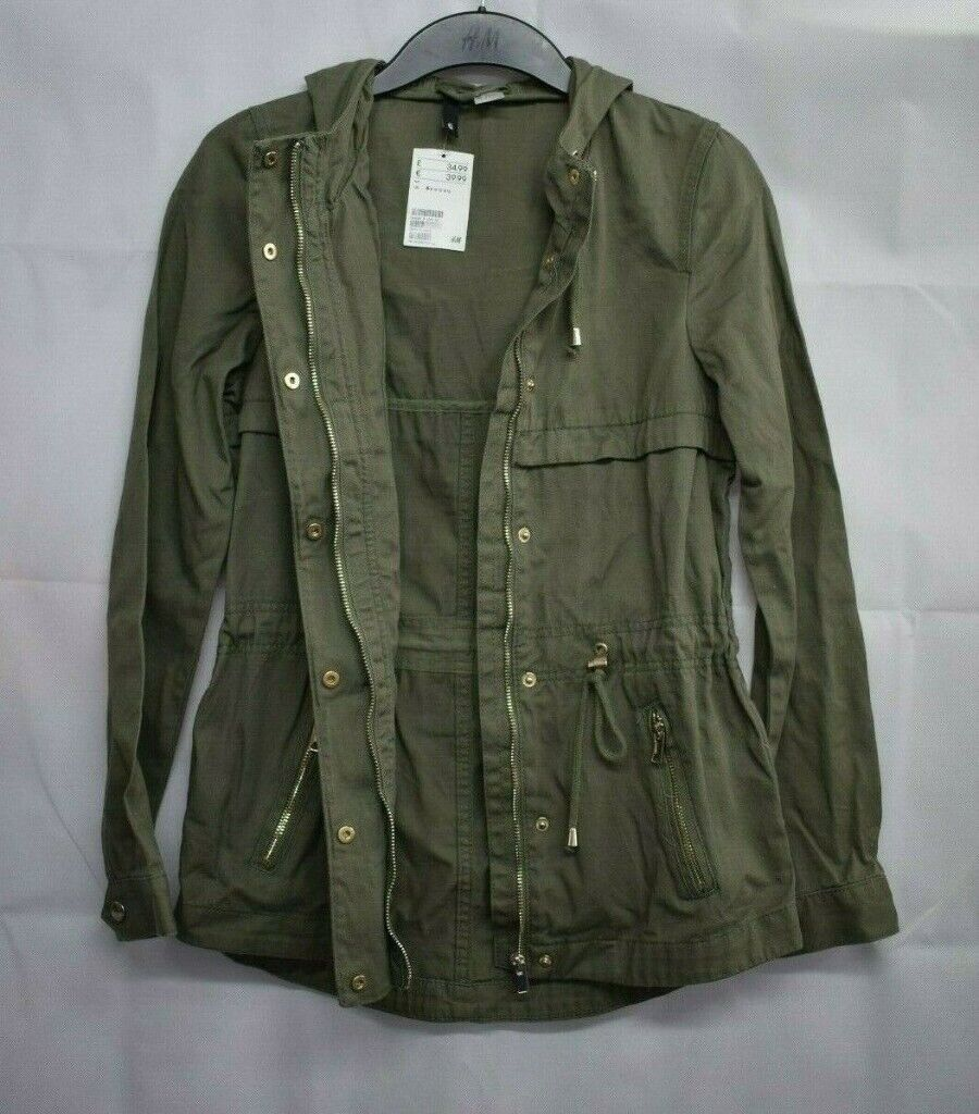 8f06961df7eb H M Divided Women Khaki Green Lightweight Hooded Parka Jacket ...