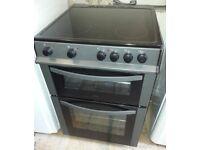 Black, Logic 60cm Electric cooker fan oven, Grill, Ceramic Hob