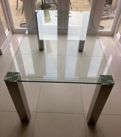 Glass/brushed steel dining/kitchen table