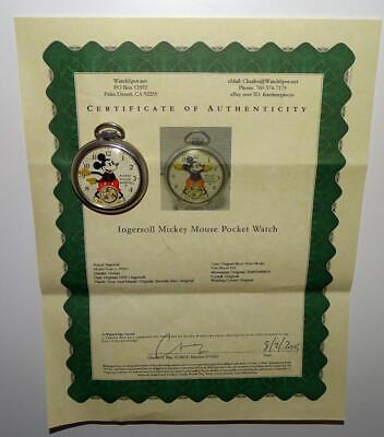 "EX! DISNEY 1934""MICKEY MOUSE POCKET WATCH""-INGERSOLL+SERVICED+COA+ALL ORIGINAL"