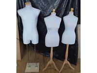 3 x Tailors Dressmakers Dummy Torso Bust Mannequin Dummies