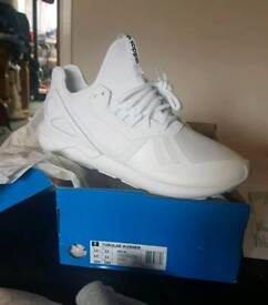 d19b8537b3453 Brand New Mens Adidas Originals Tubular Runners Full White Size 12UK RRP.  £89.99