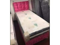 🔥☄️GRAB A BARGAIN☄️🔥 NEW velvet crushed divan bed sets with mattress & FREE DELIVERY🔴🔵